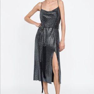 ZARA SHINY BELTED DRESS